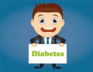 """Image d'une homme tenant une pancarte sur laquelle est est écrit le mot """"diabète""""."""