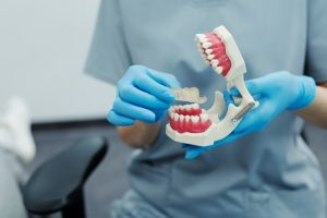 Dentiste posant une gouttière sur de fausses dents.